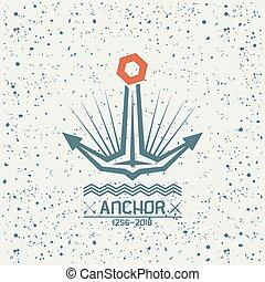 Anchor emblem in geometric style on a textured background