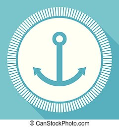 Anchor flat vector icon, sail square blue web button
