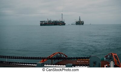 Anchor-handling AHTS vessel during dynamic position...