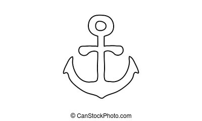 Anchor icon animation best outline object on white background