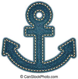 Anchor icon. Realistic denim. Vector eps10 - Anchor icon. ...