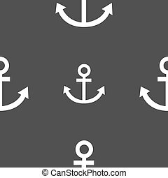 Anchor icon. Seamless pattern on a gray background. Vector