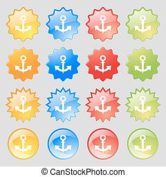 anchor Icon sign. Big set of 16 colorful modern buttons for your design. Vector