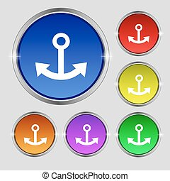 Anchor icon sign. Round symbol on bright colourful buttons. Vector