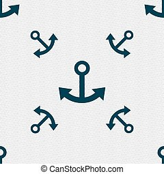 Anchor icon sign. Seamless pattern with geometric texture. Vector