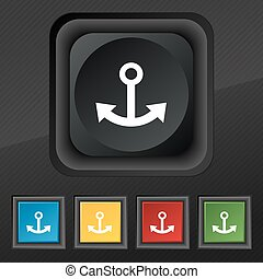 Anchor icon symbol. Set of five colorful, stylish buttons on black texture for your design. Vector