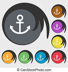 Anchor icon. Symbols on eight colored buttons. Vector