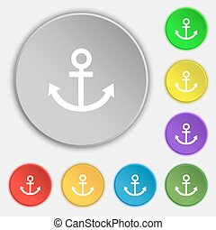 Anchor icon. Symbols on eight flat buttons. Vector