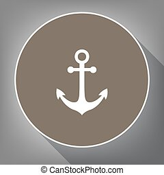 Anchor icon. Vector. White icon on brown circle with white contour and long shadow at gray background. Like top view on postament.
