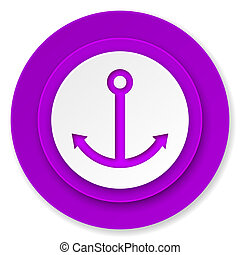 anchor icon, violet button, sail sign