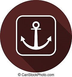 Anchor icon. White flat image in white square contour with long shadow