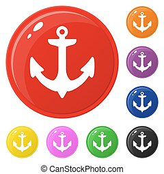 Anchor icons set 8 colors isolated on white. Collection of glossy round colorful buttons. Vector illustration for any design.
