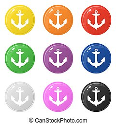 Anchor icons set 9 colors isolated on white. Collection of glossy round colorful buttons. Vector illustration for any design.