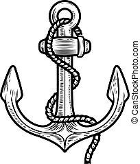 Anchor illustration isolated on white background. Design element for logo, label, emblem, sign.