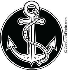 Anchor - Black and white vector illustration of anchor done...