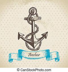anchor., mão, desenhado, ilustração