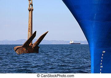 Anchor of a blue ship