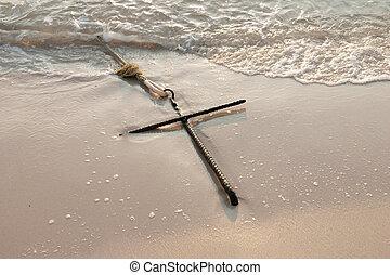 Anchor on sand beach Huahin in Thailand