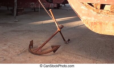 Anchor on the ground at dry dock