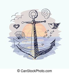 Anchor on the sunset background.
