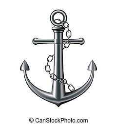 Anchor on white background - Anchor with chain on white...
