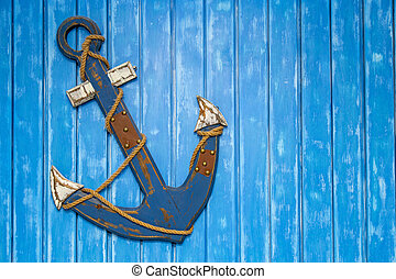 Anchor on wooden plank wall background - Anchor decoration ...