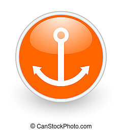 anchor orange circle glossy web icon on white background