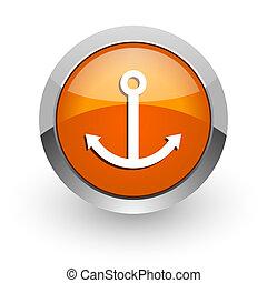 anchor orange glossy web icon