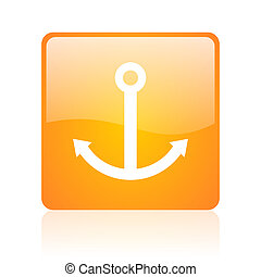 anchor orange square glossy web icon