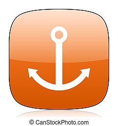 anchor orange square web design glossy icon