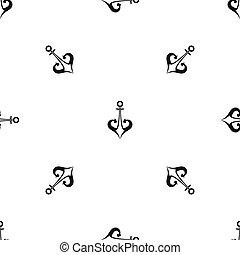 Anchor pattern seamless black