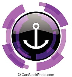 Anchor pink violet modern design vector web and smartphone icon. Round button in eps 10 isolated on white background.