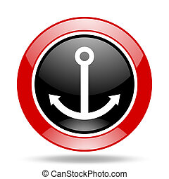 anchor red and black web glossy round icon