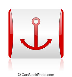 anchor red and white square web glossy icon