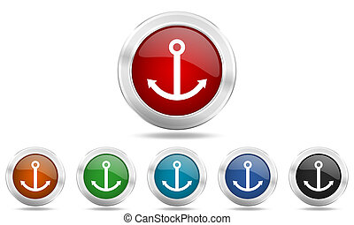 anchor round glossy icon set, colored circle metallic design internet buttons