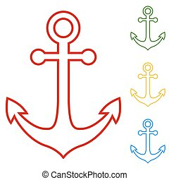 Anchor. Set of line icons