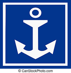 Anchor sign in port of Melbourne Australia