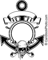 Anchor steering wheel skull