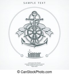 Anchor symbol badge round