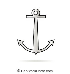 anchor vector illustration in silver color on white