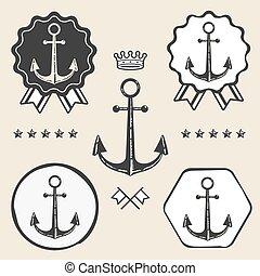 anchor vintage symbol emblem label collection