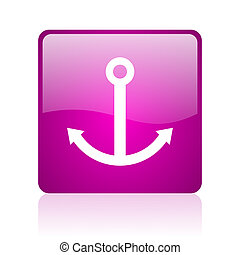 anchor violet square web glossy icon