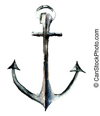 Anchor, watercolor illustration