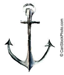 Anchor, watercolor illustration