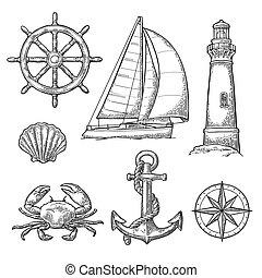 Anchor, wheel, sailing ship, compass rose, shell, crab,...