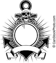 Anchor wheel skull flintlock pistols