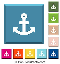 Anchor white icons on edged square buttons