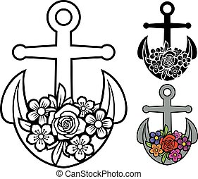 Anchor with flowers (floral design, flourish)
