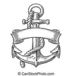 Anchor with ribbon and rope isolated on white background.