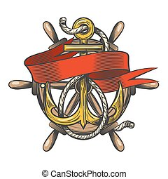 Anchor with ribbon and steering wheel Emblem